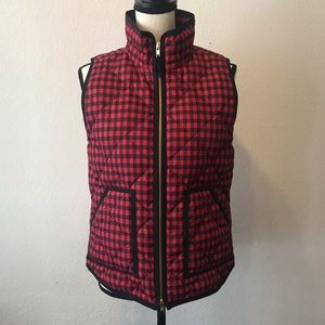 J. Crew Checkered Quilted Puffer Vest